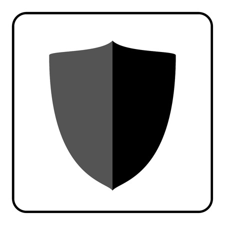 defence: Shield icon. Flat design style. Black and gray graphic element isolated on white background. Emblem blank for security, protection, safety. Banner defence, privacy decoration badge Vector illustration
