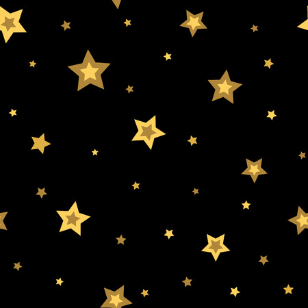 black star: Stars seamless pattern gold and black retro background. Chaotic elements. Abstract geometric shape texture. 3d effect sky. Design template for wallpaper, wrapping, fabric, textile. Vector Illustration Illustration