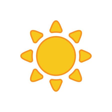 słońce: Ikona słońcu. Światło znak z promieni słonecznych. Żółty element projektu, na białym tle. Symbol wschodu słońca, ciepło, słonecznie i słońca, światło słoneczne. Płaski nowoczesny styl dla prognozy pogody Illustration