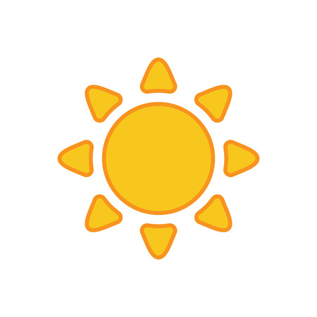 morning sun: Sun icon. Light sign with sunbeams. Yellow design element, isolated on white background. Symbol of sunrise, heat, sunny and sunset, sunlight. Flat modern style for weather forecast Vector Illustration