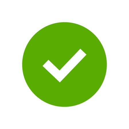 green button: Tick sign element. Green checkmark icon isolated on white background. Simple mark graphic design. Circle shape OK button for vote, decision, web. Symbol of correct, check, approved Vector illustration