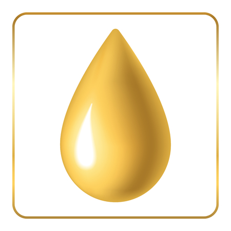liquid gold: Oil drop icon. Droplet liquid nature and ecological. Golden sign isolated on white background. Gold design element. Symbol of olive, honey, energy, fuel. Ecological natural. Stock Vector illustration.