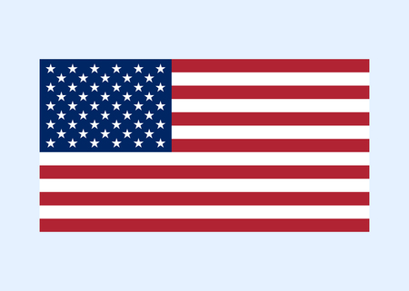 correctly: Flag USA sign. National symbol of freedom, independence. Original simple clean United State Of America flag, isolated on white background. Official colors and Proportion Correctly. Vector illustration