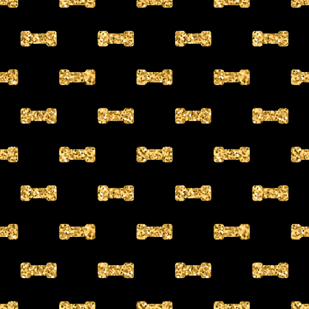 sequin: Dumbbell geometric seamless pattern. Gold glitter sequin black template. Abstract texture. Golden luxury prints. Retro vintage decoration. Design for wallpaper, wrapping, textile. Vector Illustration.