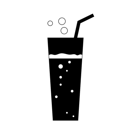 fizzy: Glass soda icon. Fizzy liquid with bubbles and piece of straw. Black sign, isolated on white background. Effervescent drink. Symbol fast food, cocktail, lemonade,  mineral water. Vector illustration.