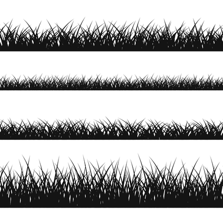 Grass silhouette seamless pattern. Nature lush landscape background Horizontal black contour isolated on white. Symbol of field lawn, park and meadow, fresh, summer. Design element Vector illustration Çizim