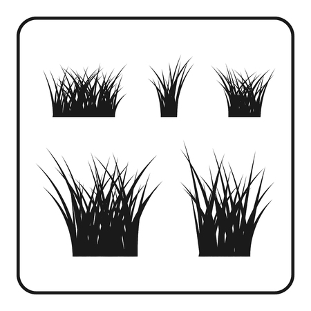 Grass bushes set. Nature plant background. Collection black silhouettes isolated on white. Symbol of field, lawn, spring and meadow, fresh, summer. Elements for design environment. Vector illustration