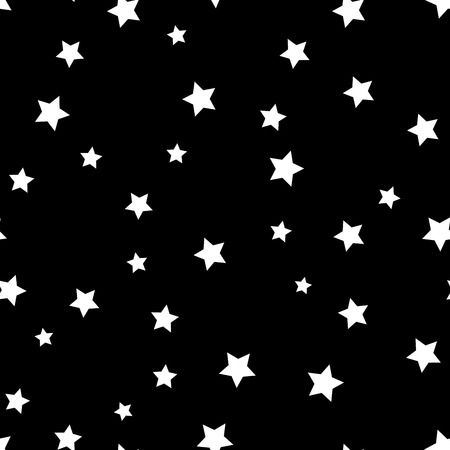 big and small: Star seamless pattern. Black and white retro background. Chaotic elements. Abstract geometric shape texture. Effect of sky. Design template for wallpaper, wrapping, fabric, textile Vector Illustration