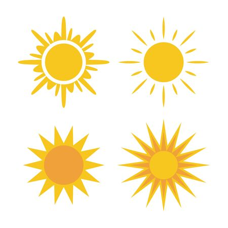 sunbeam: Sun icons set. Collection light yellow signs with sunbeam. Design elements, isolated on white background. Symbol of sunrise, heat, sunny and sunset, morning, sunlight. Flat style. Vector Illustration.