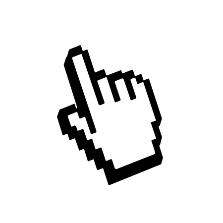 click button: Hand pointer sign. Cursor mouse web icon. Pixelated click button. Black element, isolated on white background. Symbol arrow, computer, technology and website, internet, connection. Vector illustration Illustration