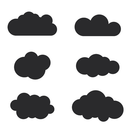 Cloud icons set. Black outline isolated on white background. Collection template elements design. Symbol of space, weather, clear and nature. Abstract signs. Flat graphic style. Vector Illustration