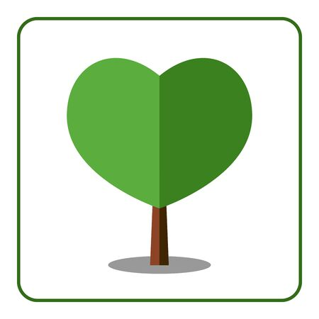 deciduous tree: Heart tree icon. Flat design. Love sign. Trendy beautiful floral element isolated on white background. Green silhouette deciduous tree. Symbol of nature, environment. Sprites game. Vector illustration