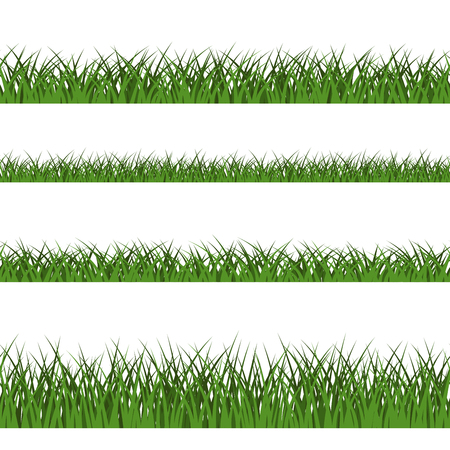 Green grass seamless pattern. Nature lush landscape background. Horizontal silhouette, isolated on white. Symbol of field, lawn, park and meadow, fresh, summer. Design element. Vector illustration Illustration