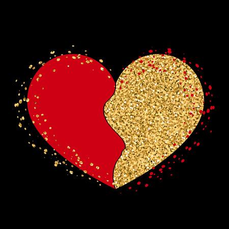 gold heart: Halves gold heart icon. Two half puzzle. Art design template. Broken shape sign, isolated on white background. Romance symbol wedding, Valentine day, romantic, love. Golden splash. Vector illustration Illustration