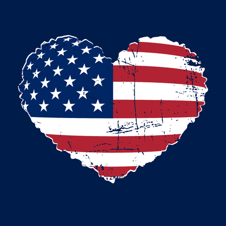 American flag heart shaped icon on white background. Patriotic USA emblem typography Graphics. National printing design. Grunge style. Symbol of celebrate Independence Day America. Vector illustration