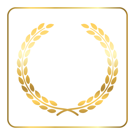 elite sport: Gold laurel wreath. Symbol of victory and achievement. Design element for decoration of medal, award, coat of arms or anniversary logo. Golden leaf silhouette on white background. Vector illustration.