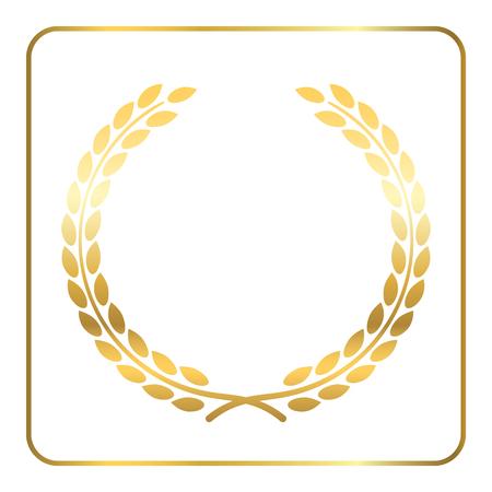 Or couronne de laurier. Symbole de la victoire et de réussite. élément de design pour la décoration de la médaille, un prix, des armoiries ou logo anniversaire. silhouette de la feuille d'or sur fond blanc. Vector illustration.