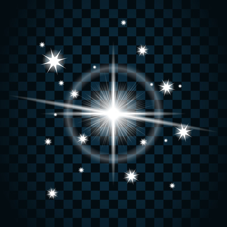 glare: Shine star with glitter and sparkle icon. Effect twinkle, glare, glowing, graphic light sign. Transparent glow design element on dark background. Template bright flash decoration. Vector illustration. Illustration