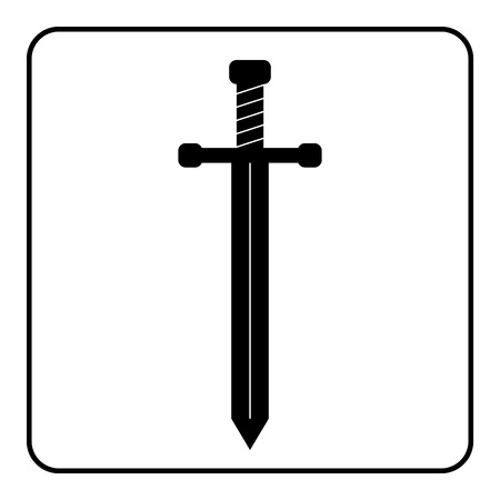 templar: Medieval sword icon. Black silhouette isolated on white background. Symbol of knight, warrior, weapon and victory, battle, templar. Flat style. Military historic traditional design Vector illustration