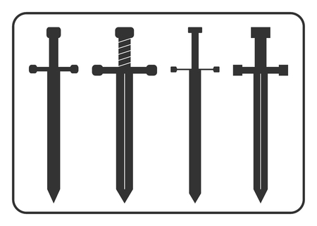 longsword: Medieval swords icons set. Collection of gray object silhouettes, isolated on white background. Symbol ancient knight, warrior, weapon and victory, battle, templar. Flat design. Vector illustration Illustration