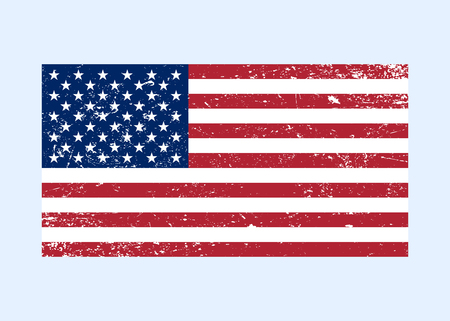 american vintage: Flag USA sign Grunge. National symbol of freedom, independence. Original simple United State Of America flag isolated on white background. Official colors and Proportion Correctly. Vector illustration Illustration