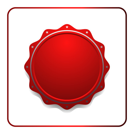 signatory: Seal award red icon. Blank medal with stars isolated on white background. Stamp design certificate. Label emblem. Symbol of assurance, winner, guarantee and best, premium, quality. Vector illustration Illustration