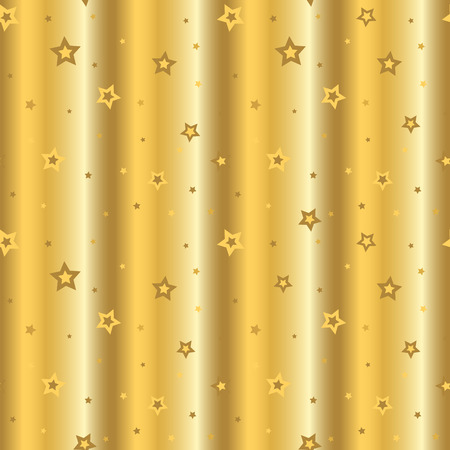 Stars seamless pattern gold retro background. Wave chaotic elements. Abstract decoration golden foil texture. 3d effect sky. Design template wallpaper, wrapping, fabric, textile. Vector Illustration