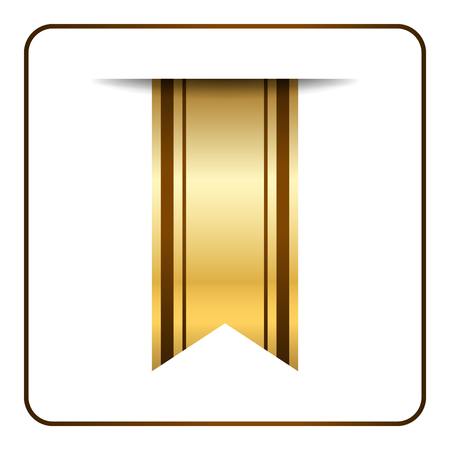 tape marker: Brown and gold bookmark banner. Vertical book mark, isolated on white background. Color tag, label. Flag symbol, sign. Design element blank. Empty sticker for sale. Template icon. Vector illustration