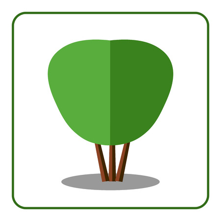 deciduous tree: Shrub tree icon. Flat design. Bush sign. Trendy beautiful floral element, isolated on white background. Green silhouette deciduous tree. Symbol of nature, forest. Sprites for game. Vector illustration Illustration