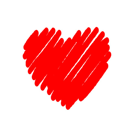 Heart red bright icon. Drawing brush shape sign, isolated on white background. Grunge design handmade card. Symbol of love, Valentine Day, holiday and romantic, marriage, proposal. Vector illustration Vectores
