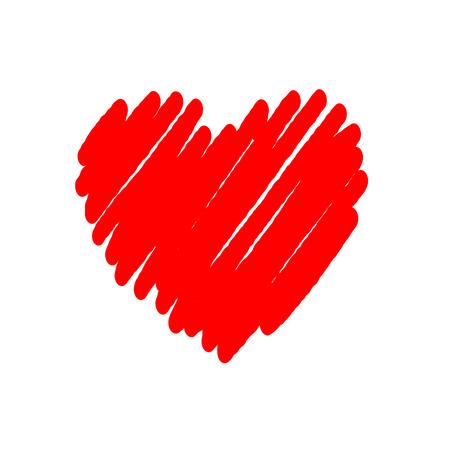 Herz rot hell-Symbol. Zeichnung Pinselform Zeichen, isoliert auf weißem Hintergrund. Grunge design handgemachte Karte. Symbol der Liebe, Valentinstag, Urlaub und romantische, Hochzeit, Vorschlag. Vektor-Illustration Vektorgrafik