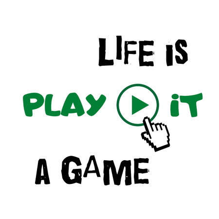 active life: T shirt typography graphic with quote Life is game. Grunge. Fashion stylish print for sports wear. Template for t-shirt, apparel or card, poster, etc. Symbol of active lifestyle. Vector illustration.