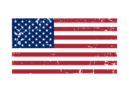 correctly: Flag USA sign Grunge. National symbol of freedom, independence. Original simple United State Of America flag isolated on white background. Official colors and Proportion Correctly. illustration