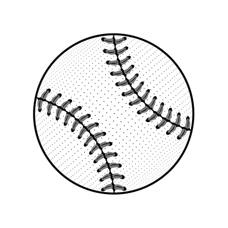 team game: Baseball ball sign. Black softball icon isolated on white background. Equipment for professional american sport. Symbol play, team, game and competition, recreation. Simple design. Illustration