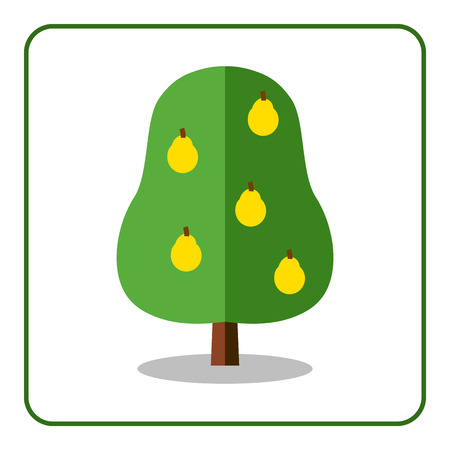pear tree: Pear tree icon. Flat sign with fruit. Trendy beautiful floral element, isolated on white background. Green silhouette deciduous tree. Symbol of nature, garden.