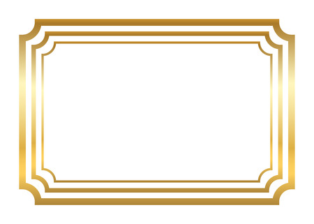 Gold frame. Beautiful simple golden design. Vintage style decorative border, isolated on white background. Deco elegant art object. Empty copy space for decoration, photo, banner. Illustration