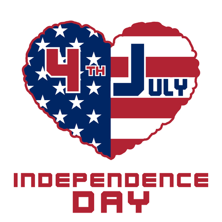 independance: American flag as heart shaped symbol for 4th of July, Independence Day celebration. Patriotic love Typography Graphics. Fashion Print for sportswear apparel, t shirt, card, banner.