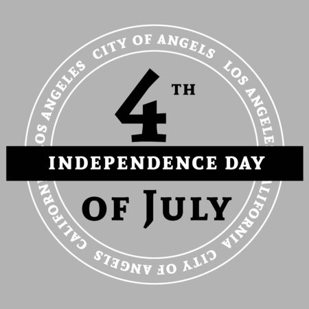 Los Angeles sign, symbol for 4th July, Independence Day celebration. Patriotic Typography Graphics. National printing. Fashion Print for sportswear apparel, t shirt, card, banner.