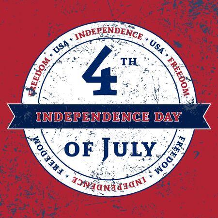 Symbool voor de Amerikaanse 4 juli vakantie, de viering van Independence Day. Patriotic Typografie Graphics. National printing design. Fashion Print kleding sportkleding, t-shirt, kaart, spandoek illustratie Stock Illustratie