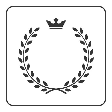 white coat: Laurel wreath icon with crown. Symbol of victory and achievement. Design element for medals, awards, coat of arms or anniversary icon. Gray silhouette isolated on white background.