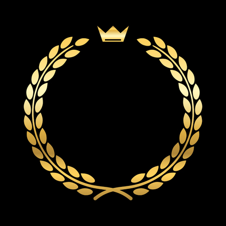 laurel leaf: Gold laurel wreath, with crown. Golden leaf emblem. Vintage design, isolated on black background. Decoration for insignia, banner award. Symbol of triumph, sport victory, trophy.
