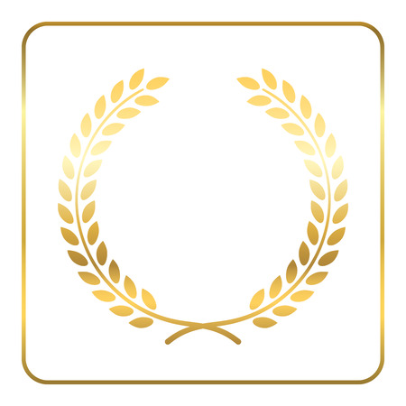 Gold laurel wreath. Symbol of victory and achievement. Design element for decoration of medal, award, coat of arms or anniversary. Golden leaf silhouette on white background.