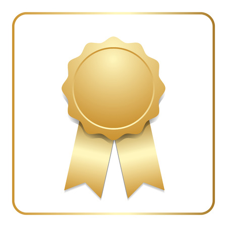 Award ribbon gold icon. Blank medal with stars isolated on white background. Stamp rosette design trophy. Golden emblem. Symbol of winner, celebration, sport achievement, champion. Ilustracja