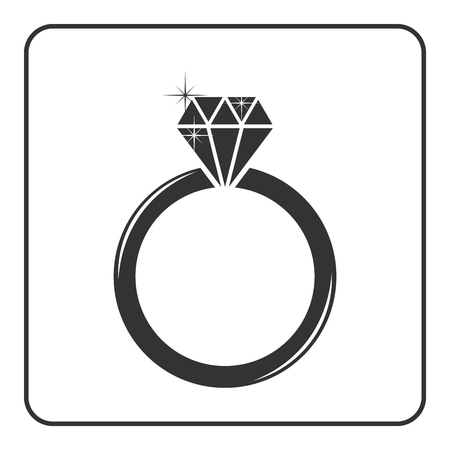 engagement silhouette: Diamond engagement ring icon. Shiny sparkle crystal sign. Black circle silhouette isolated on white background Flat fashion design element. Symbol engagement, gift, jewel expensive