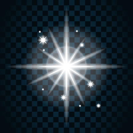 glare: Shine star with glitter and sparkle icon. Effect twinkle, glare, glowing, graphic light sign. Transparent glow design element on dark background. Template bright flash decoration.