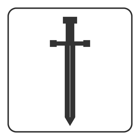 templar: Medieval sword icon. Gray silhouette isolated on white background. Symbol of knight, warrior, weapon and victory, battle, Templar. Flat style. Military historic traditional design. Illustration