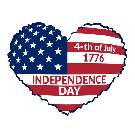 independance: American flag as heart shaped symbol for 4th of July, Independence Day celebration. Patriotic love Typography Graphics. Fashion Print for sportswear apparel, t shirt, card, banner. Vector illustration