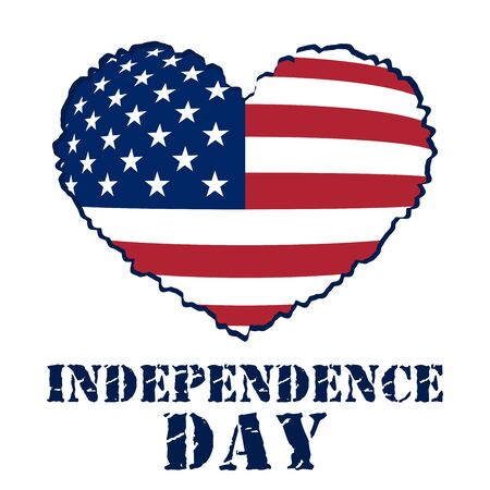 independance: American flag as heart shaped symbol for 4th of July, Independence Day celebration. Patriotic love Typography Graphics. Fashion Print for sportswear apparel, t shirt, card, banner. illustration Stock Photo
