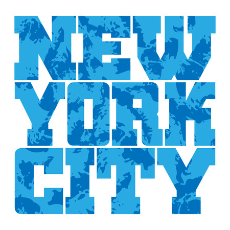 athletic wear: T shirt typography graphics New York. Athletic style NYC. Fashion american stylish print for sports wear. Blue grunge emblem. Template for apparel, card, poster. Symbol of big city Vector illustration Illustration