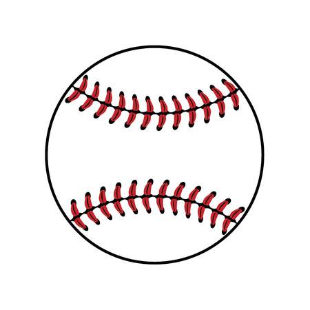 fast pitch: Baseball ball sign. Colored softball sign, isolated on white background. Equipment professional american sport. Symbol play, team, game and competition, recreation. Simple design. Vector illustration